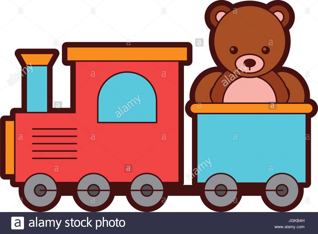 1300x960 Cute Bear Teddy With Train Vector Illustration Design Stock Vector