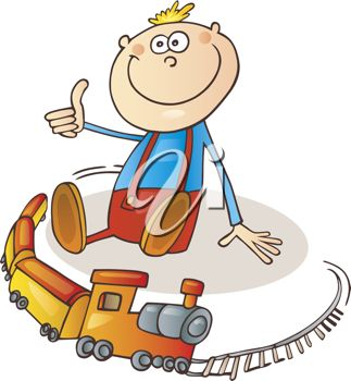 323x350 Cartoon Of Little Boy Playing With Toy Train On Railroad Track