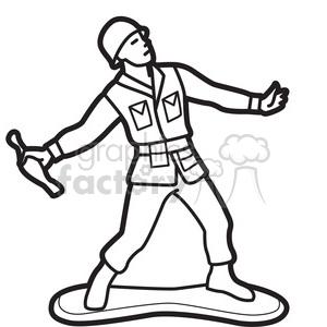 300x300 Royalty Free black white toy gernader soldier illustration graphic