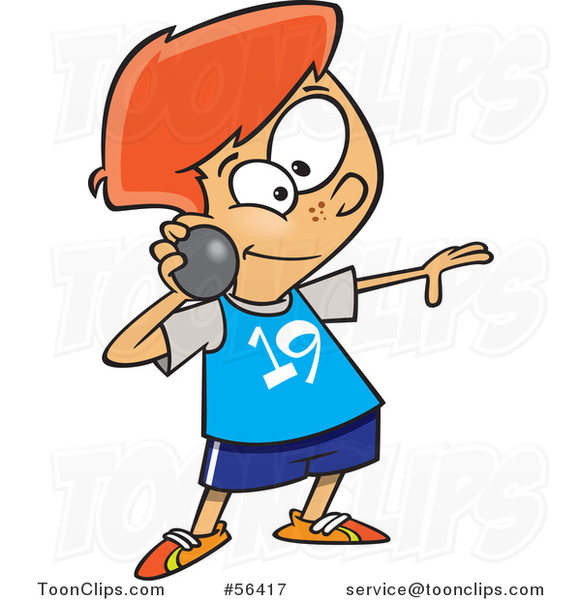 581x600 Cartoon Track And Field Red Haired White Boy Throwing A Shot Put