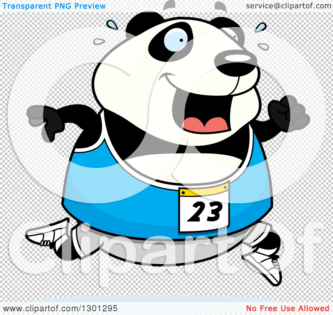 1080x1024 Clipart Of A Cartoon Sweaty Chubby Panda Running A Track And Field