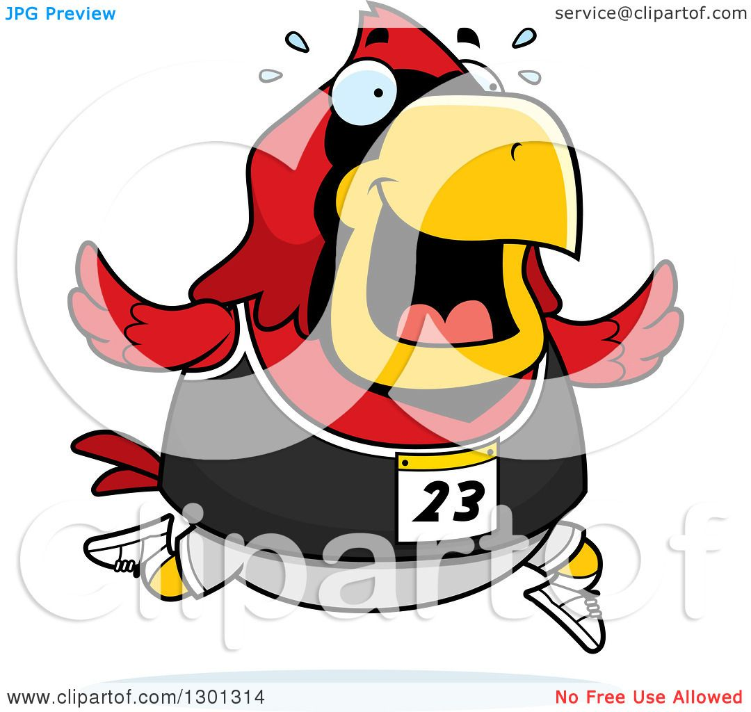 1080x1024 Clipart Of Cartoon Sweaty Chubby Red Cardinal Bird Running
