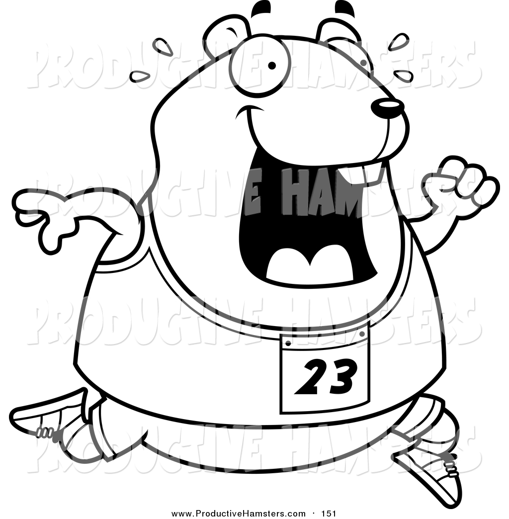 1024x1044 Illustration Of Cartoon Lineart Sweaty Chubby Hamster Running