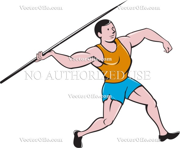 590x485 Javelin Throw Track And Field Cartoon Royalty Free Cartoon Vectors