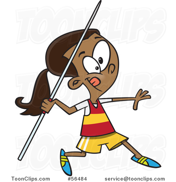 581x600 Cartoon Black Track And Field Girl Throwing A Javelin