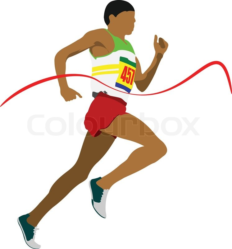 747x800 Track And Field Man Running Vector Illustartion Stock Vector