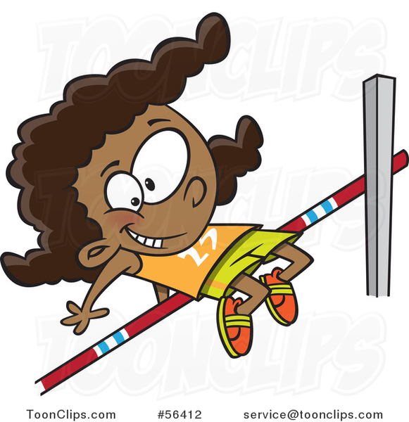 581x600 Cartoon Track And Field Black Girl Doing The High Jump