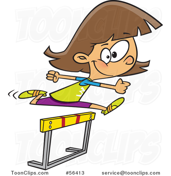 581x600 Cartoon Track And Field Brunette White Girl Leaping A Track Hurdle