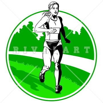 361x361 Sports Clipart Image Of Girls Track Field Runner Running Long