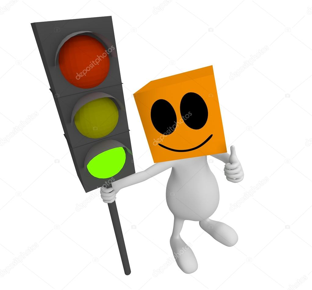 1023x950 3d Little Cute Green Man Traffic Light Stock Photo Quka