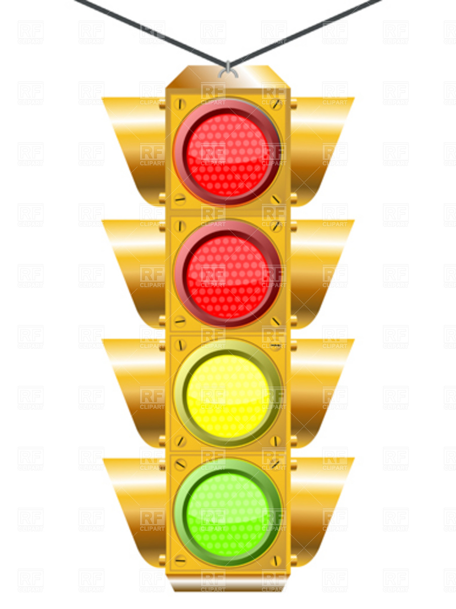 899x1200 Traffic Light With Four Lights Royalty Free Vector Clip Art Image