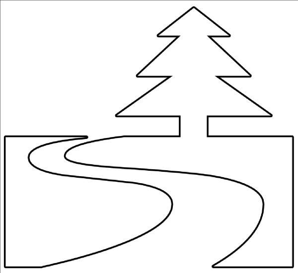600x550 Nature Trail Outline Clip Art