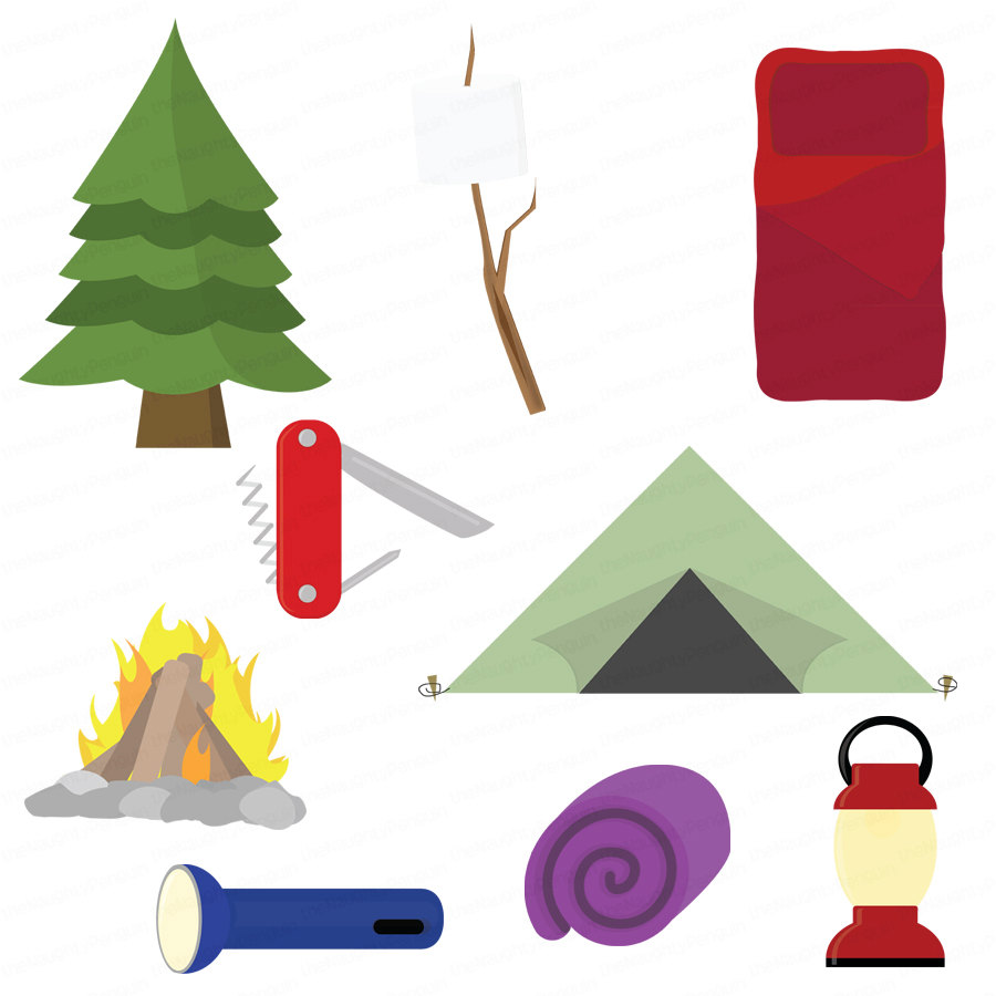 900x900 Camping Bag Clip Art Camping Clipart Black And White