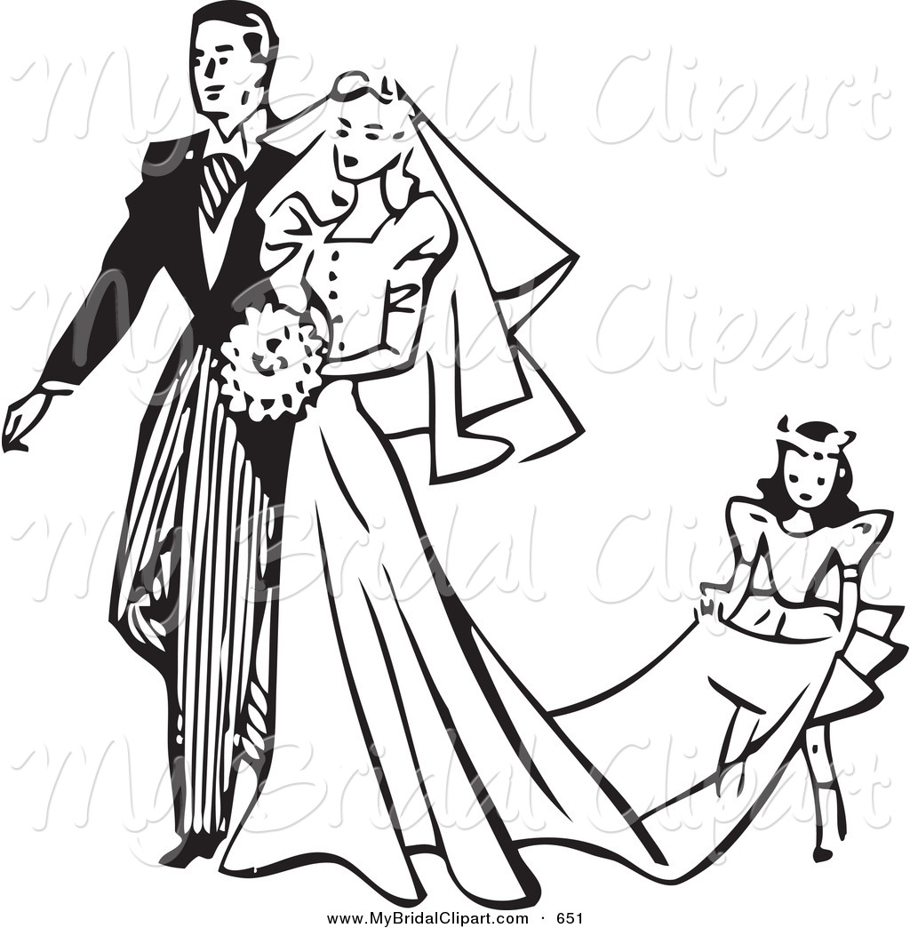 1024x1044 Bridal Clipart Of A Retro Black And White Outline Girl Carrying