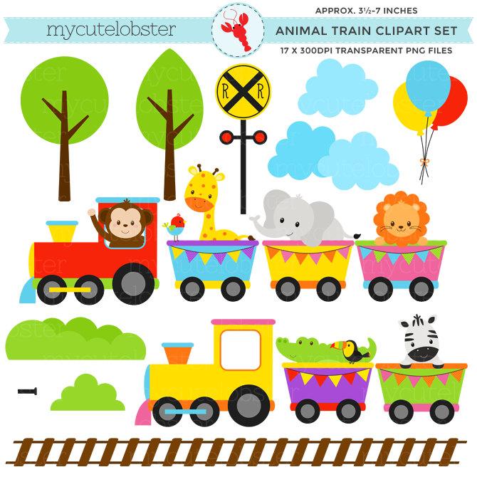 670x670 Animal Train Clipart Set Clip Art Set Of By Mycutelobsterdesigns