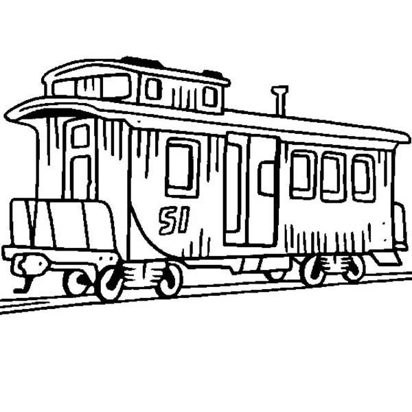 600x600 Caboose Train Coloring Page Color Luna
