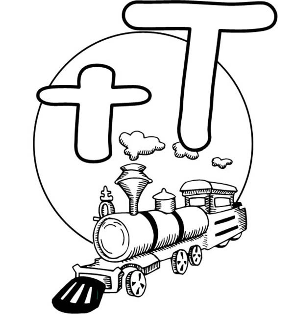 600x656 Letter T Is For Train Coloring Page For Preschool Kids Bulk Color
