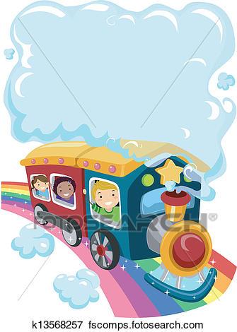 335x470 Clip Art Of Kids On A Rainbow Train 2 K13568257