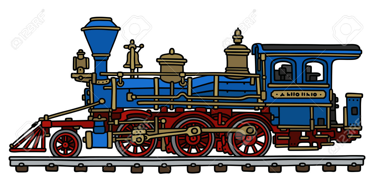 1300x649 Hand Drawing Of A Classic Blue American Steam Locomotive Royalty