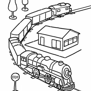 300x300 Awesome Model Train Coloring Page Color Luna
