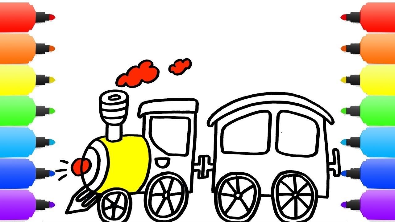 1280x720 How To Draw Cartoon Train. Drawings And Coloring Book For Kids
