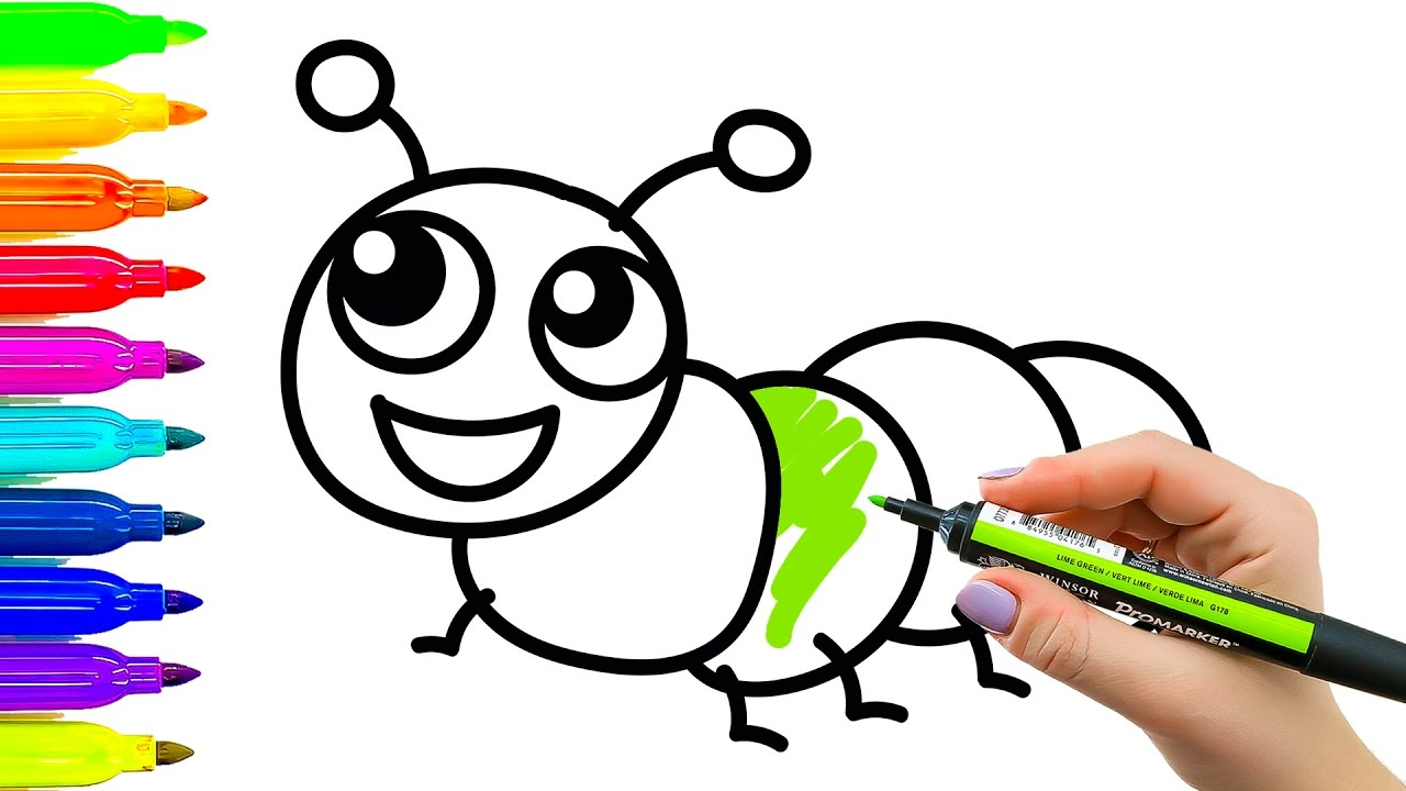 1280x720 Art For Kids How To Draw And Color Caterpillar Learning