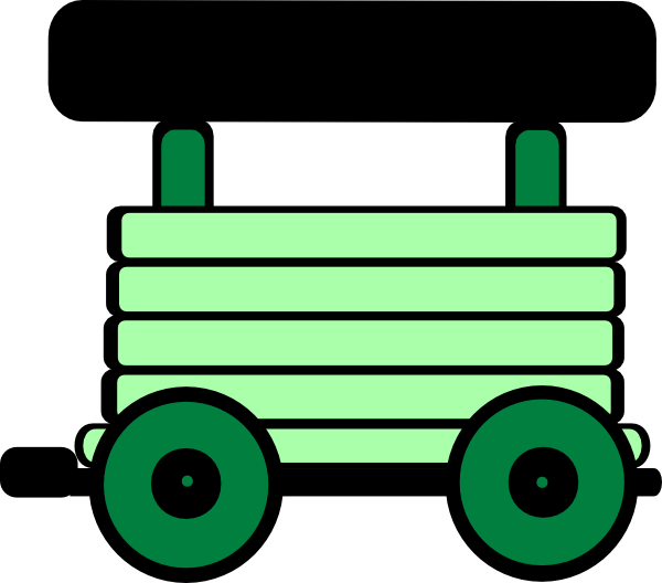 600x528 Loco Train Carriage Green Clip Art