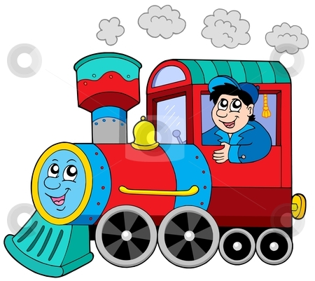 450x401 Cartoon Train Engine With Engine Driver Stock Vector Clipart