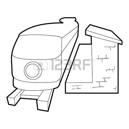 450x450 Railway Station Building Icon. Outline Illustration Of Railway