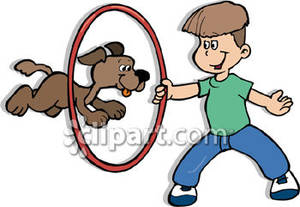 300x207 Dog Jumps Through A Hoop That A Boy Is Holding Royalty Free