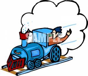 300x261 Man Riding In A Blue Train Clip Art Image