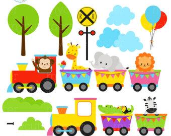 340x270 Animal Train Clipart Etsy