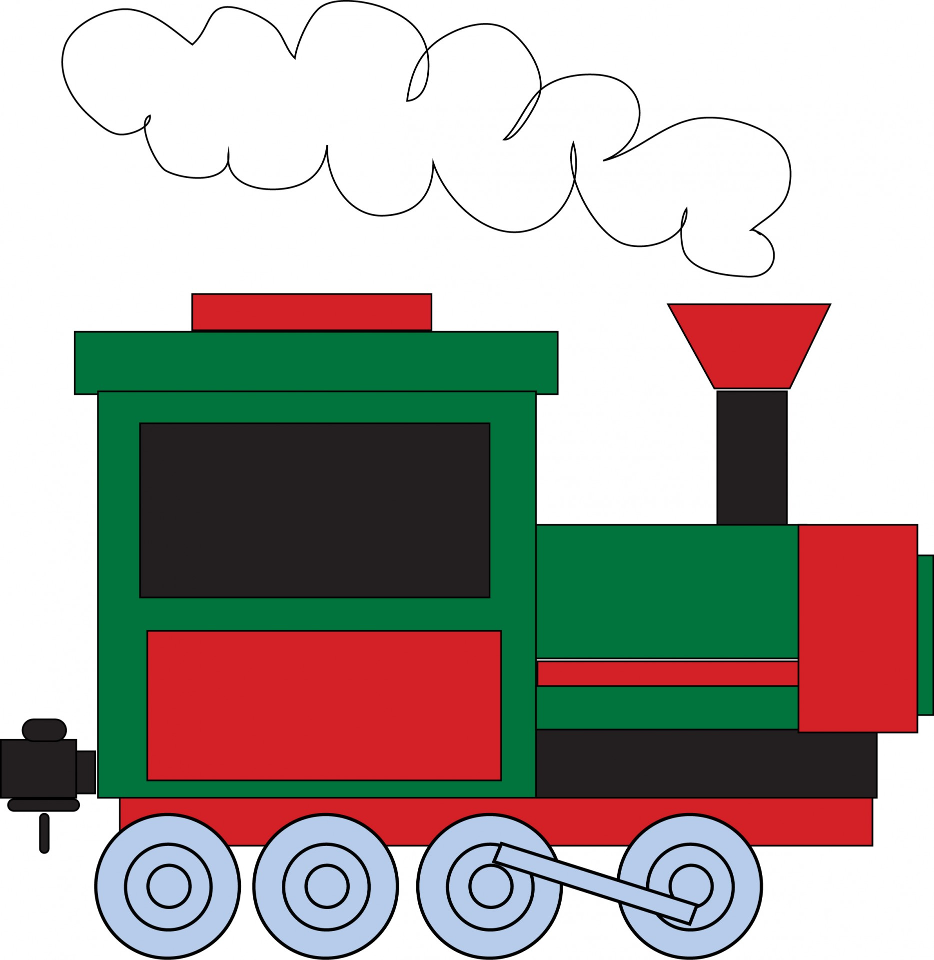 1869x1920 Green And Red Train Clipart