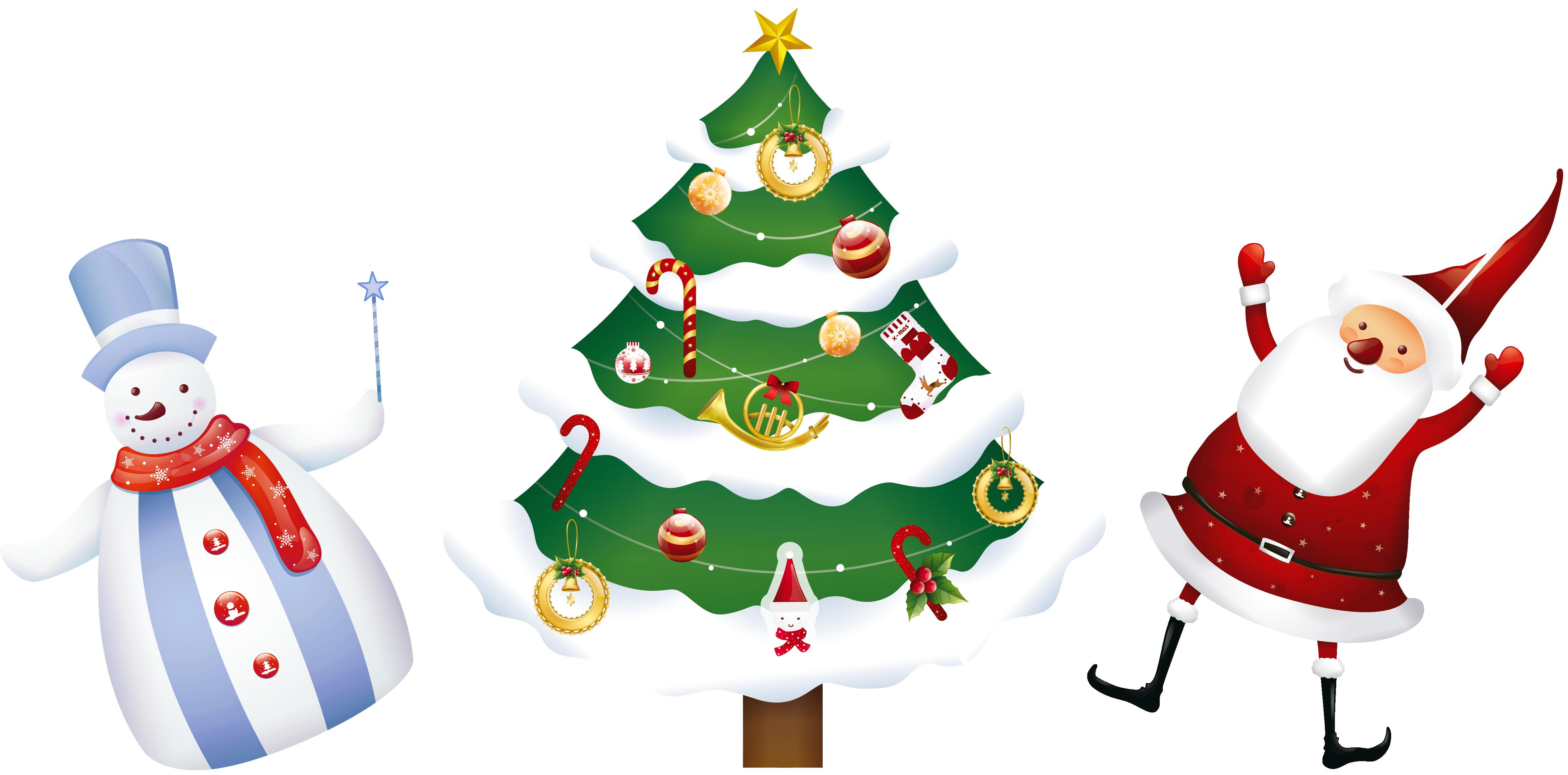 4540x2245 Christmas Ornaments Clipart Snowman