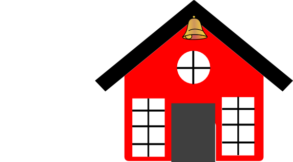 600x332 Red School House With Bell Clip Art Vector Image