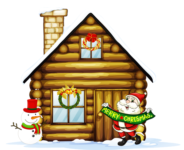 600x491 Transparent Christmas House With Santa And Snowman Clipart Its
