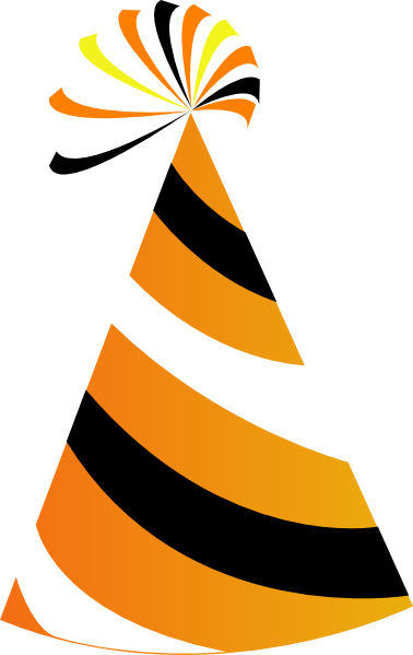 378x599 Orange And White Party Hat Clip Art