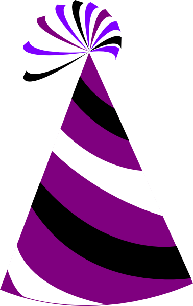 378x599 Purple And White Party Hat Clip Art