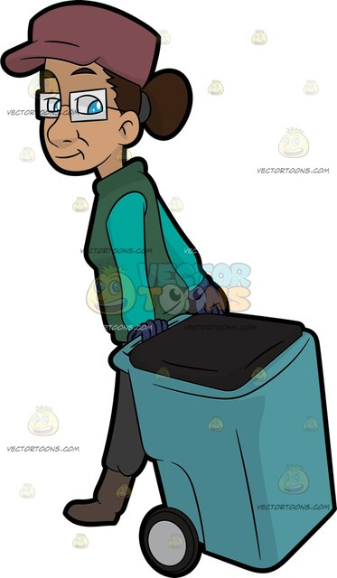 373x640 A Female Garbage Collector Pulling A Wheeled Garbage Bin Cartoon
