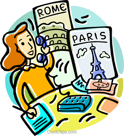 437x480 Travel Agent Booking Vacations Royalty Free Vector Clip Art