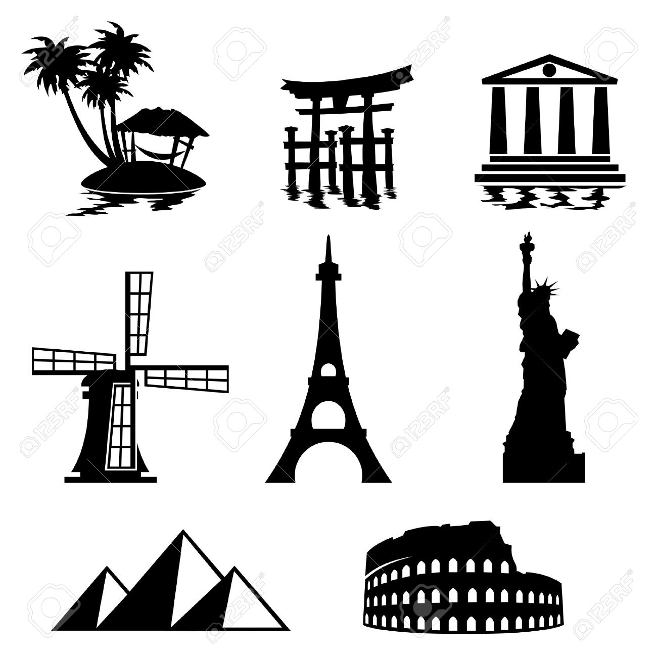 1300x1300 Landmark Clipart Black And White
