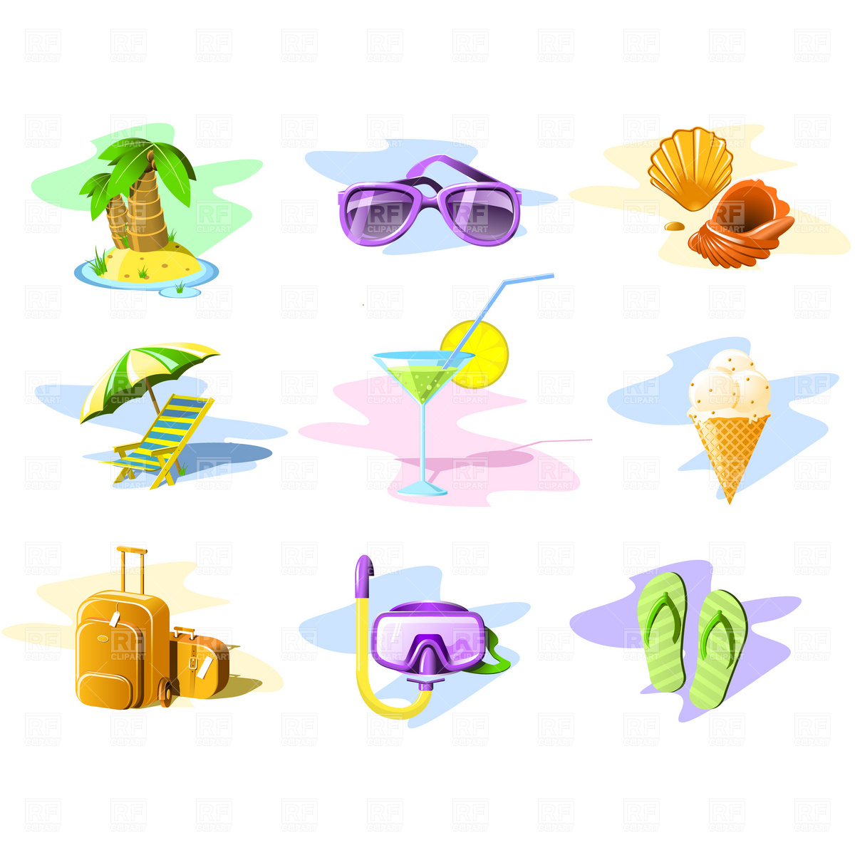1200x1200 Travel And Vacation Icons Royalty Free Vector Clip Art Image