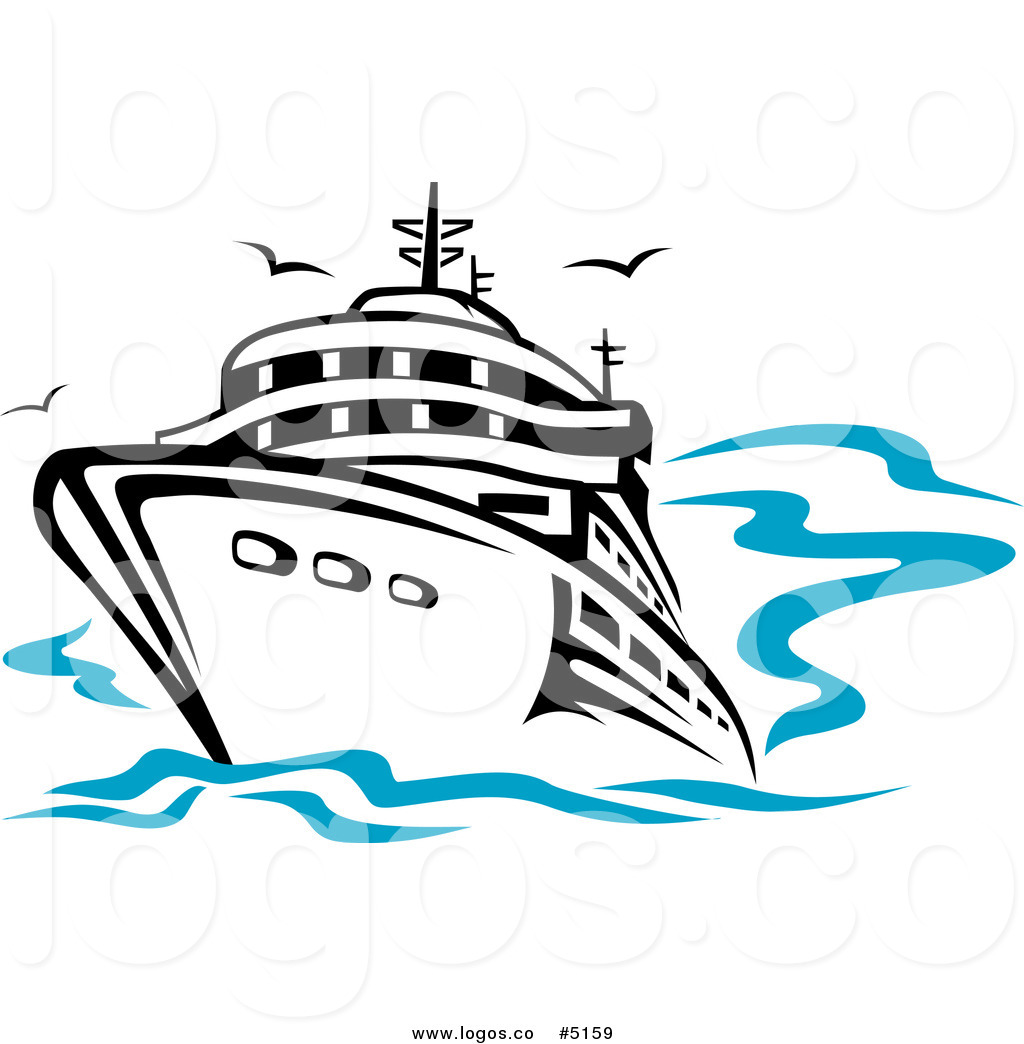 1024x1044 Royalty Free Vector Of A Cruise Ship And Gulls Travel Logo By