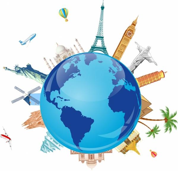600x576 World Travel Symbols Free Vector In Adobe Illustrator Ai ( Ai