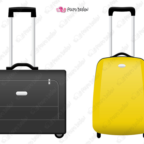570x570 Rolling Suitcase Clipart. Digital Rolling Luggage Clipart