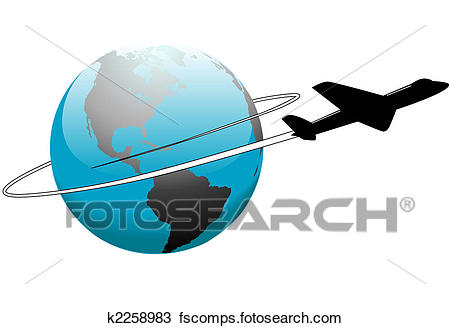 450x328 Clipart Of Airline Travel Around The World Earth Airplane K2258983