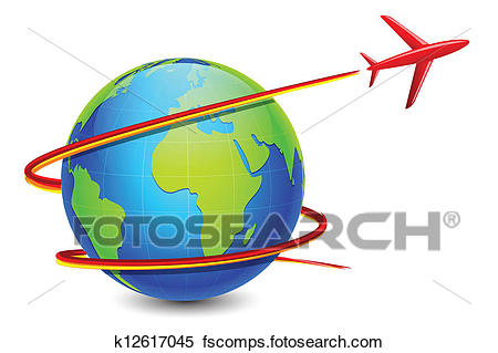 450x319 Clipart Of Airplane Around Earth K12617045