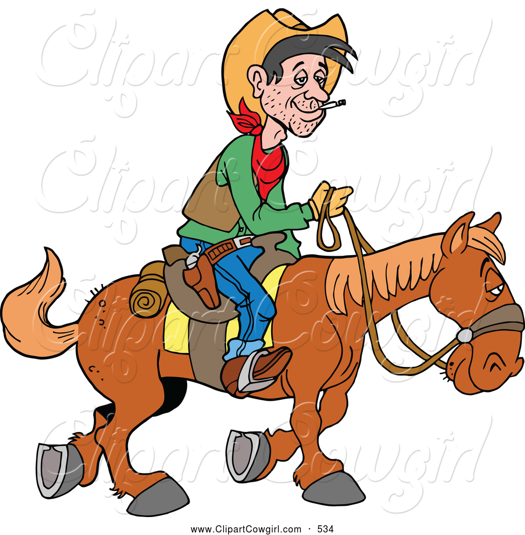1024x1044 Clipart Of A Horseback Cowboy Traveling By Lafftoon