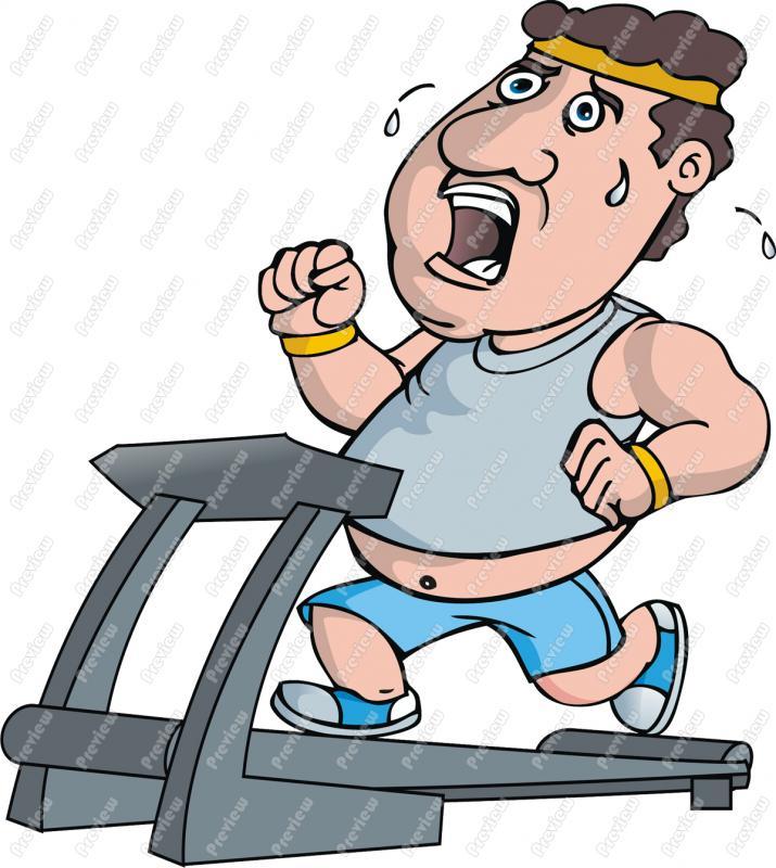 715x800 Fat Guy On Treadmill Exercising Clip Art