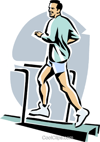 338x480 Man Running On A Treadmill Royalty Free Vector Clip Art